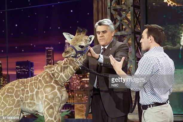 Host Jay Leno and zoologist Jarod Miller on April 13 2005