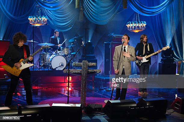Musician Brandon Flowers of rock band The Killers performs on April 14 2005