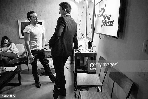 Actor Josh Hutcherson talks with host Seth Meyers backstage on November 19 2015
