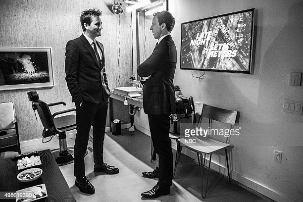 MEYERS Episode 293 Pictured Actor David Tennant talks with host Seth Meyers backstage on November 18 2015