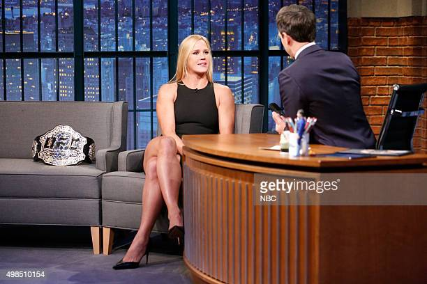 Holly Holm UFC Women's Bantamweight Champion during an interview with host Seth Meyers on November 18 2015