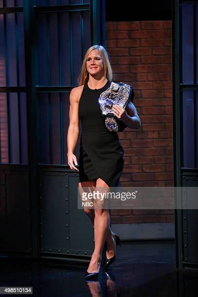 Holly Holm UFC Women's Bantamweight Champion arrives on November 18 2015