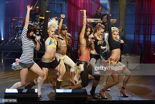 Singers Jessica Sutta Kimberly Wyatt Melody Thornton Nicole Scherzinger Carmit Bachar and Ashley Roberts of pop group The Pussycat Dolls perform on...