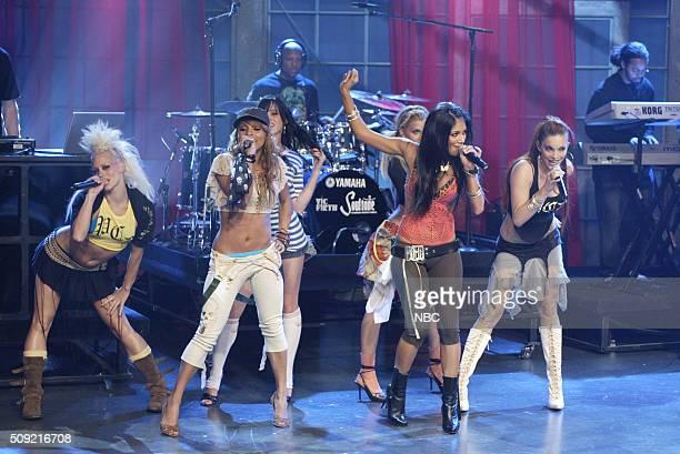 Singers Kimberly Wyatt Melody Thornton Jessica Sutta Nicole Scherzinger Ashley Roberts and Carmit Bachar of pop group The Pussycat Dolls perform on...