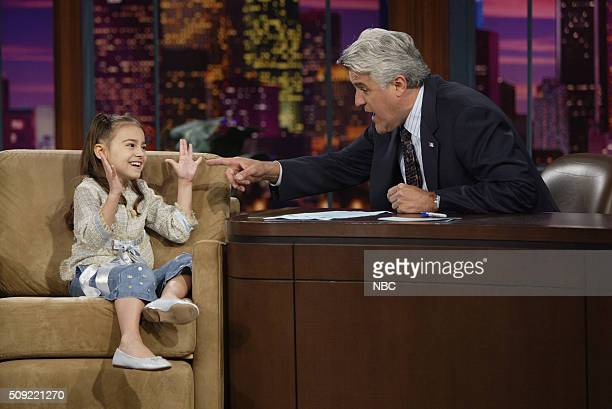 Actress Ariel Gade during an interview with host Jay Leno on July 5 2005