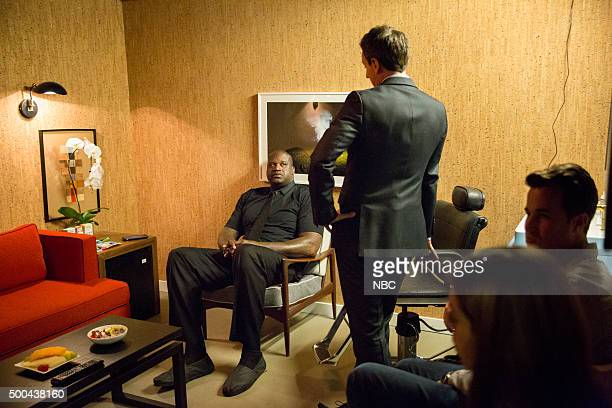 MEYERS Episode 297 Pictured Former basketball player Shaquille O'Neal talks with host Seth Meyers backstage on December 7 2015