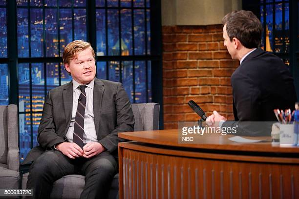 Actor Jesse Plemons during an interview with host Seth Meyers on December 9 2015