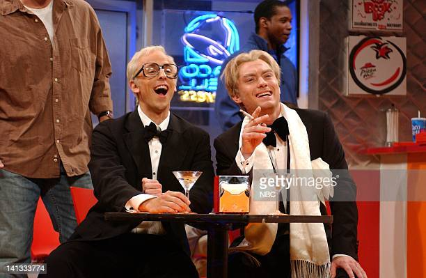 LIVE Episode 3 Air Date Pictured Seth Meyers as Michael Caine Jude Law as Peter O'Toole during 'The Adventures of Peter O'Toole Michael Caine' on...