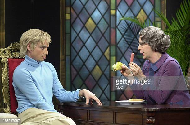 LIVE Episode 3 Aired Pictured Chris Kattan as Anne Heche Dana Carvey as Church Lady during 'Church Chat' skit on October 21 2000