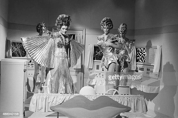 Jane Curtin as Captain Estrogena Gilda Radner as Corporal Fellopia Laraine Newman as Lieutenant Areola during the 'Planet of the Men vs Planet of the...