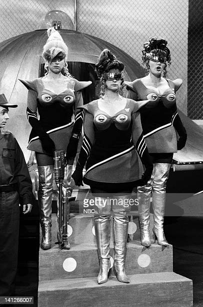 Mike Myers as soldier Victoria Jackson as Eagleboob Kirstie Alley as Mylop Julia Sweeney as Krylar during the 'Their Eyes Were On Their Breasts' skit...