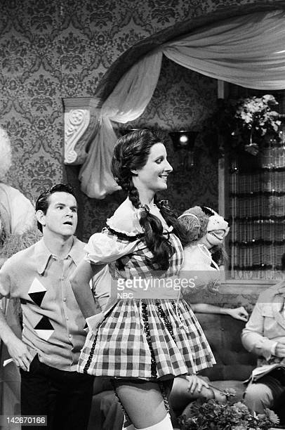Tim Kazurinsky as friend Mary Gross as Dorothy during 'Candace's Fantasy Shack' skit on October 22 1983