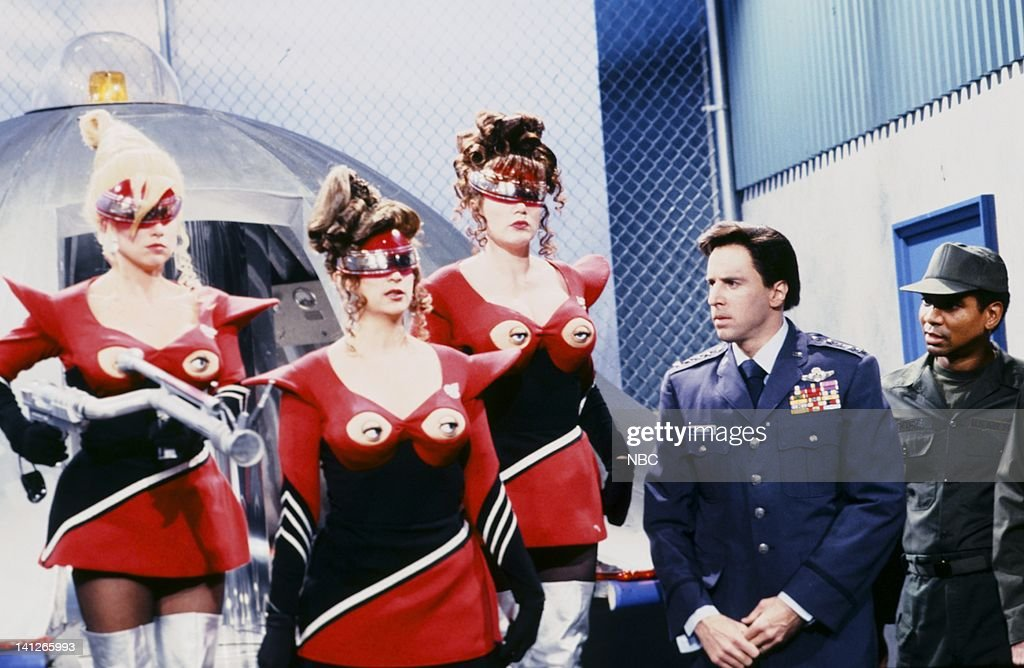 Victoria Jackson as Eagleboob, Kirstie Alley as Mylop, Julia Sweeney as Krylar, Kevin Nealon as general during the 'Their Eyes Were On Their Breasts' skit on October 21, 1991 -- Photo by: Alan Singer/NBCU Photo Bank
