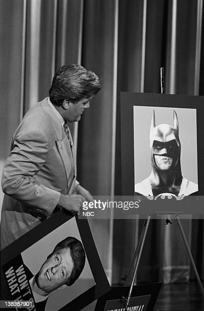host Jay Leno during presidential poll segment on June 30 1992 president William Jefferson Clinton Michael Keaton as Batman