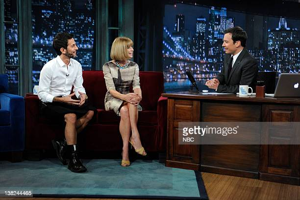 Designer Marc Jacobs and magazine editor Anna Wintaur during an interview with host Jimmy Fallon on September 1 2010