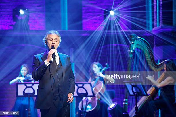 Musical guest Andrea Bocelli performs on December 10 2015