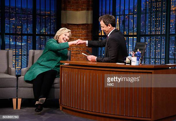 Presidential candidate Hillary Clinton during an interview with host Seth Meyers on December 10 2015
