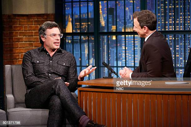 Comedian Jemaine Clement during an interview with host Seth Meyers on December 14 2015