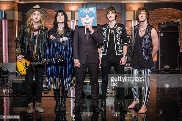 MEYERS Episode 301 Pictured Musical guests Adam Slack Luke Spiller Jed Elliott Gethin Davies of The Struts with host Seth Meyers onstage December 14...