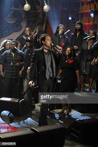 Musical guest Brandon Flowers of rock band The Killers performs on October 10 2005
