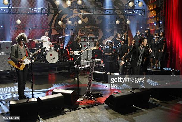Musical guests Dave Keuning and Brandon Flowers of rock band The Killers perform on October 10 2005