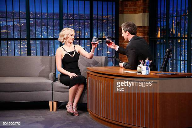 Actress Jennifer Lawrence during an interview with host Seth Meyers on December 15 2015