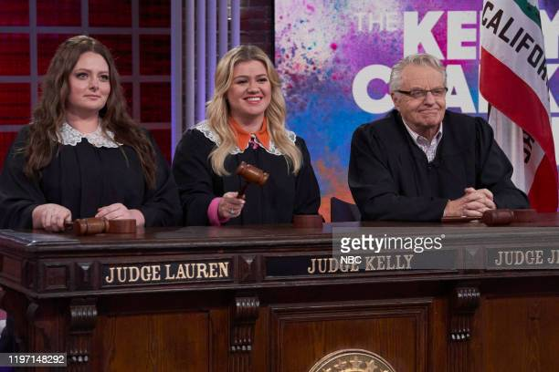 Episode 3026 -- Pictured: Lauren Ash, Kelly Clarkson, Jerry Springer --