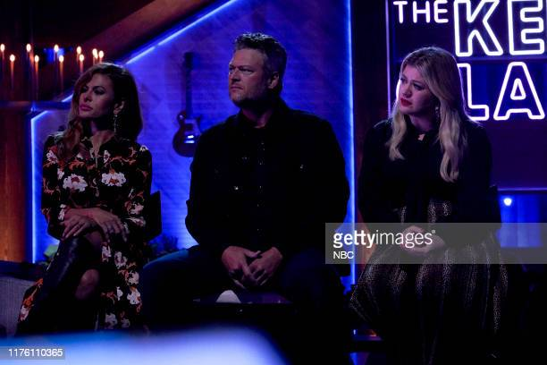 Episode 3037 -- Pictured: Eva Mendes, Blake Shelton, Kelly Clarkson --