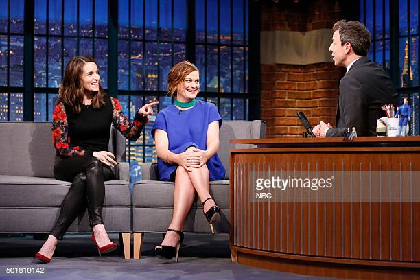 Tina Fey and Amy Poehler during an interview with host Seth Meyers on December 17 2015