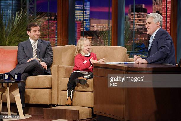 Actor Steve Carell and actress Maria Lark during an interview with host Jay Leno on January 11 2006