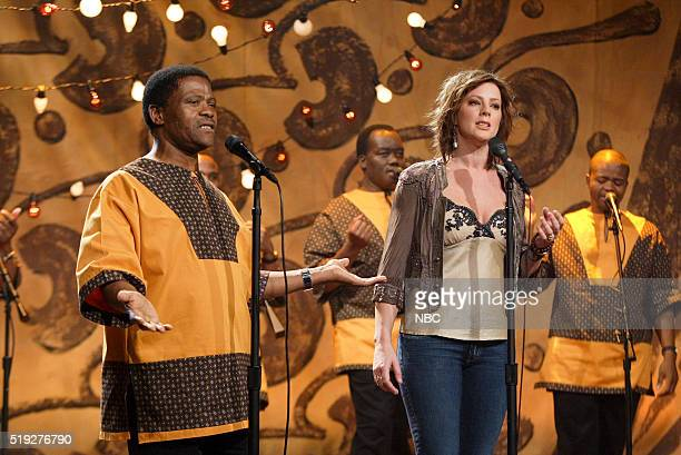 Musician Joseph Shabalala of musical guest Ladysmith Black Mambazo and musician Sarah McLachlan perform on January 23 2006