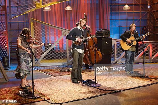 Musicians Sara Watkins Chris Thile and Sean Watkins of musical guest Nickel Creek perform on January 25 2006