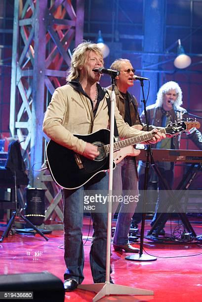 Musicians Jon Bon Jovi Hugh McDonald and David Bryan of musical guest Bon Jovi perform on March 8 2006