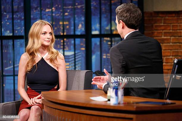 Actress Heather Graham during an interview with host Seth Meyers on January 13 2016