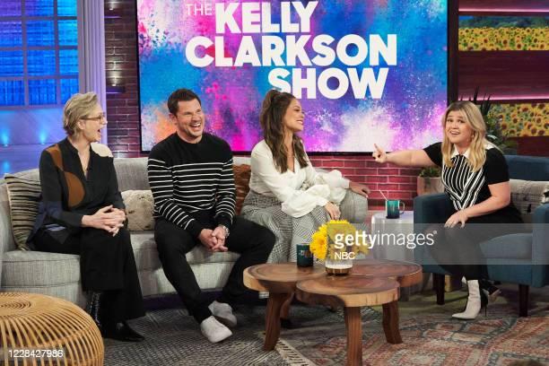 Episode 3110 -- Pictured: Jane Lynch, Nick Lachey, Vanessa Lachey, Kelly Clarkson --