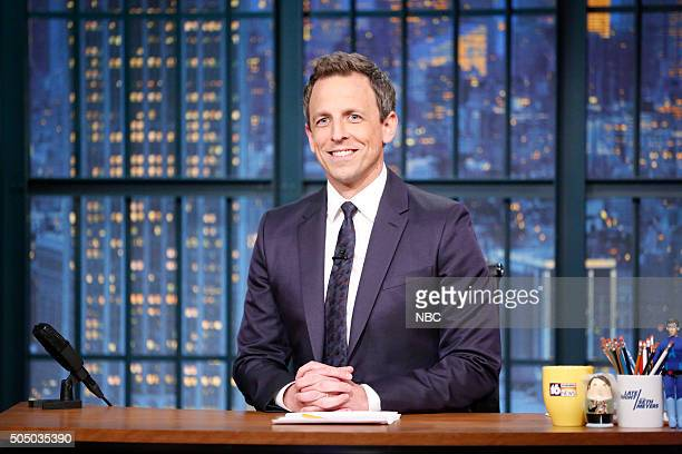 Host Seth Meyers at his desk on January 14 2016