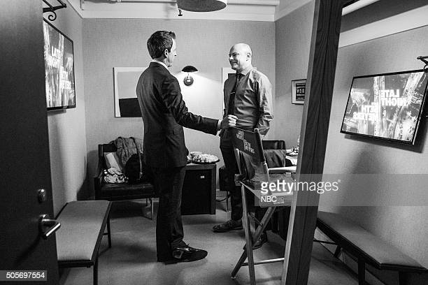 MEYERS Episode 313 Pictured Host Seth Meyers and actor Rob Corddry backstage on January 18 2016