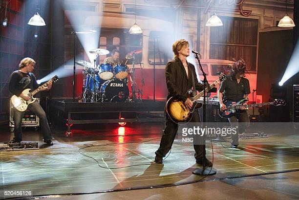Musicians Mike Malinin George Tutuska John Rzeznik and Robby Takac of musical guest Goo Goo Dolls perform on May 16 2006