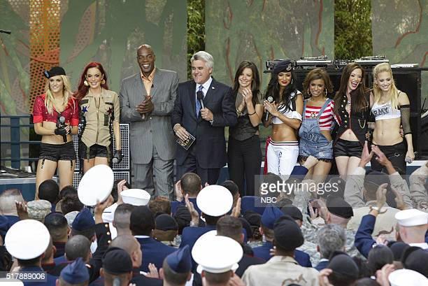 Musician Kimberly Wyatt and Carmit Bacher comedian Alonzo Bodden host Jay Leno actress Evangeline Lilly and musicians Nicole Scherzinger Melody...