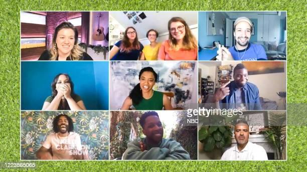 Episode 3155 -- Pictured in this screen grab: Kelly Clarkson, Katie Dzioba, Sam Dzioba, Emily Dzioba, Lin-Manuel Miranda, Jasmine Cephas Jones, Renée...
