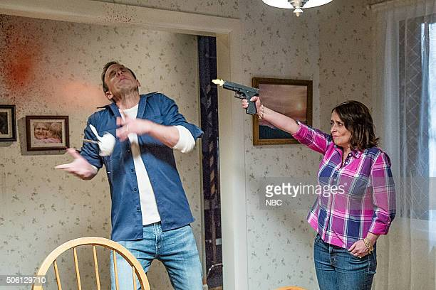 Host Seth Meyers and Rachel Dratch during the 'Boston Accent' movie sketch on January 21 2016