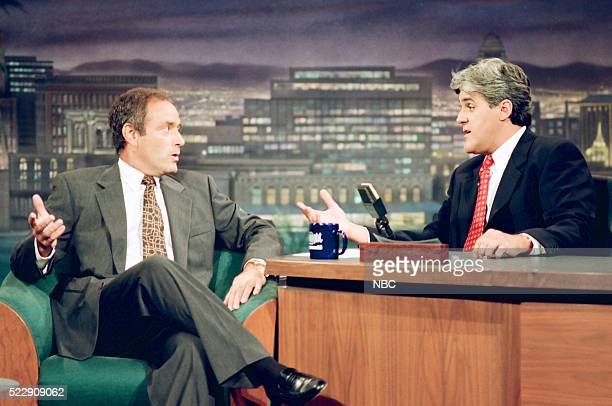 Sportscaster Al Michaels during an interview with host Jay Leno on October 5 1993