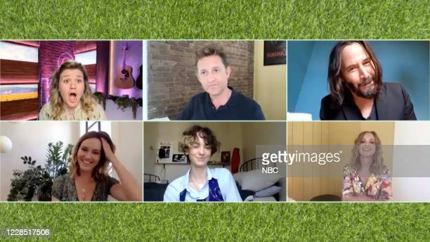 Episode 3171 -- Pictured in this screen grab: Kelly Clarkson, Alex Winter, Keanu Reeves, Erinn Hayes, Brigette Lundy-Paine, Jayma Mays --