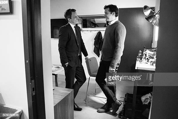 MEYERS Episode 322 Pictured Host Seth Meyers talks with actor Joshua Jackson backstage on February 5 2016