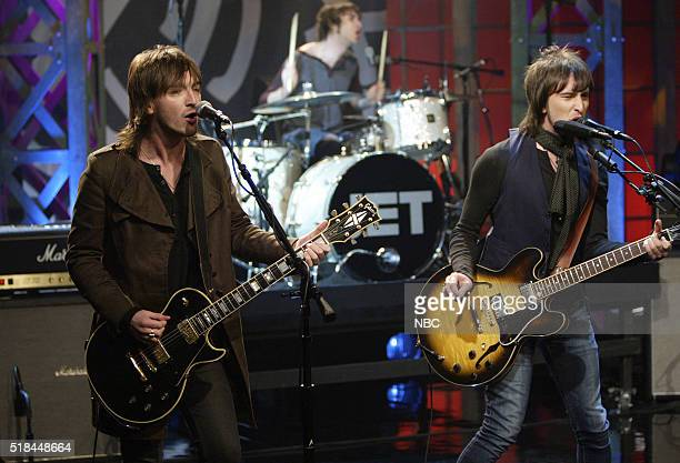 Musicians Cameron Mencey Chris Cester and Nic Cester of musical guest Jet perform on October 3 2006