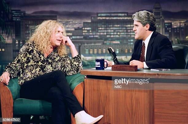 Musical guest Robert Plant during an interview with host Jay Leno on October 13 1993