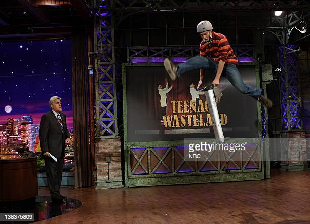 Host Jay Leno with a guest during the Teenage Wasteland segment of the show on October 13 2006