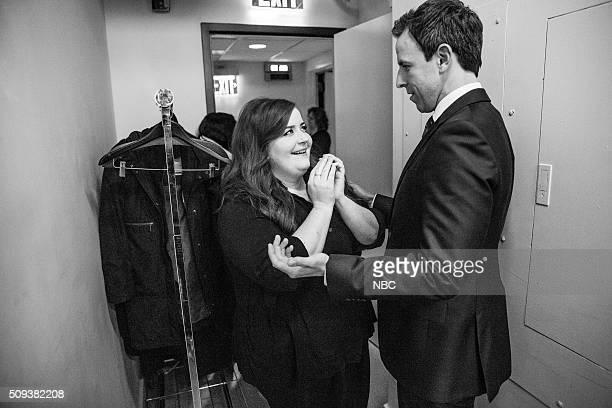 MEYERS Episode 324 Pictured Actress/comedian Aidy Bryant talks with host Seth Meyers on February 9 2016