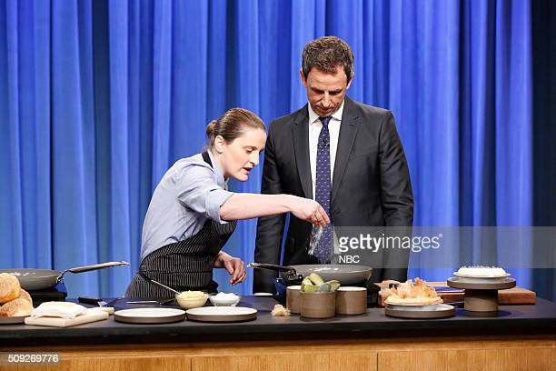 Chef April Bloomfield host Seth Meyers during a cooking segment on February 9 2016