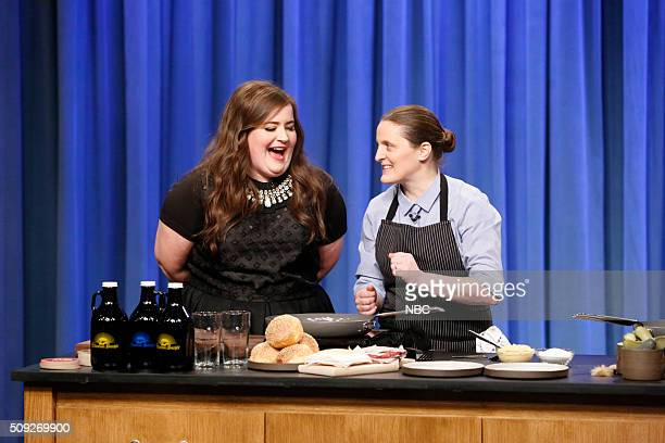 Comedian Aidy Bryant Chef April Bloomfield during a cooking segment on February 9 2016